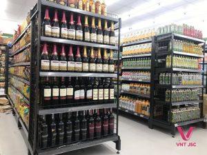 Kệ siêu thị màu đen VNT JSC