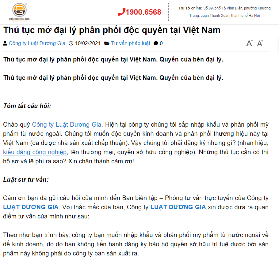 Thủ tục pháp lý mở đại lý độc quyền tại Việt Nam